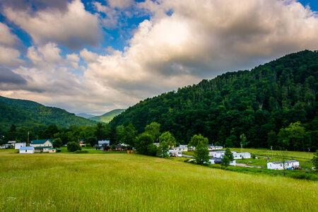 west virginia trees: Morning view of Harman, West Virginia. Stock Photo