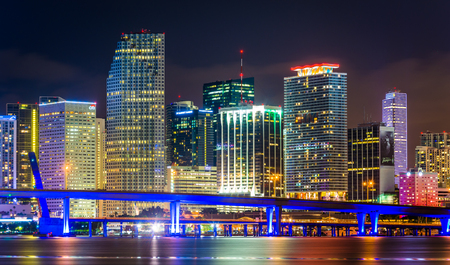 The Miami Skyline at night, seen from Watson Island, Miami, Florida.