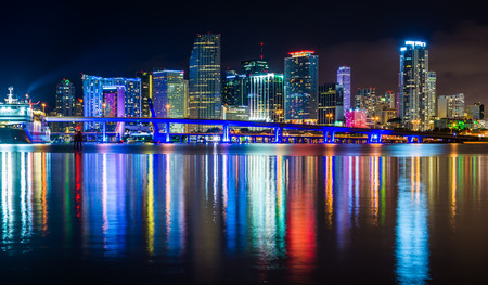 The Miami Skyline at night, seen from Watson Island, Miami, Florida. Editorial