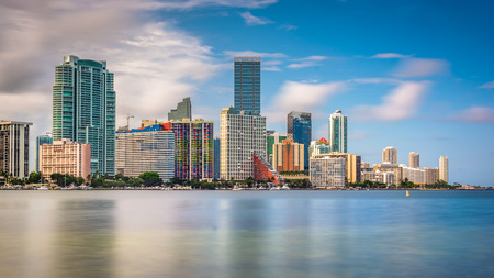 View of the Miami Skyline from Virginia Key, Miami, Florida.