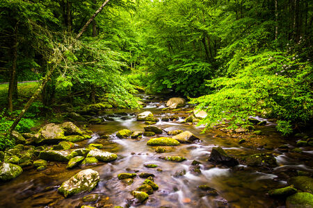 great smoky national park: The Oconaluftee River, at Great Smoky Mountains National Park, North Carolina. Stock Photo