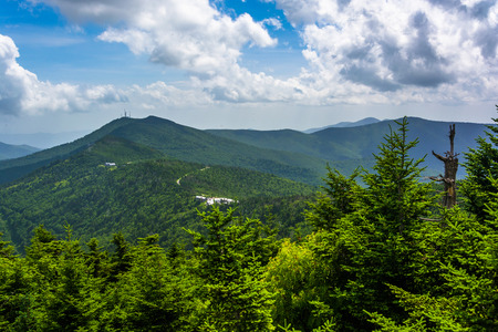 overlook: View of the Appalachian Mountains from the Observation Tower at Mount Mitchell, North Carolina. Stock Photo
