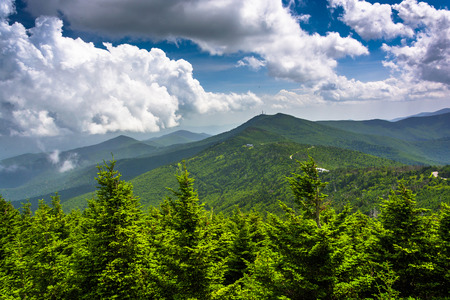 appalachian trail: View of the Appalachian Mountains from the Observation Tower at Mount Mitchell, North Carolina. Stock Photo