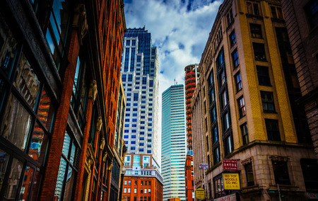Buildings along Essex Street in Boston, Massachusetts. photo