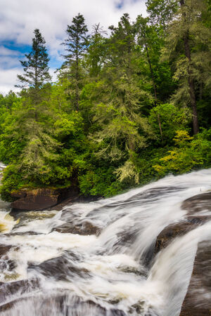 Cascades of Triple Falls,  in Dupont State Forest, North Carolina. Stock Photo