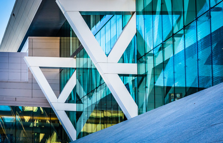 architectural: Architectural details of the Convention Center in Baltimore, Maryland. Stock Photo