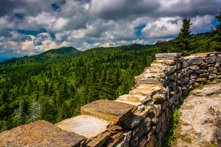 blue ridge: Stone wall and view of the Blue Ridge from Devils Courthouse, near the Blue Ridge Parkway in North Carolina.