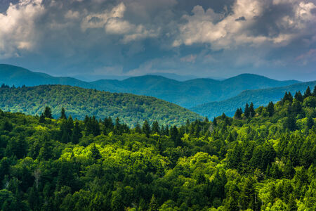 blue ridge: View of distant mountains from Devils Courthouse, near the Blue Ridge Parkway in North Carolina.