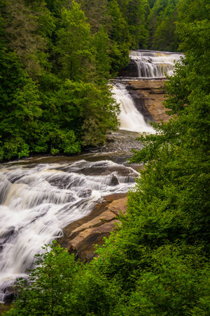 dupont: View of Triple Falls, in Dupont State Forest, North Carolina. Stock Photo