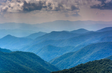 blue ridge: Layers of the Blue Ridge Mountains seen from the Blue Ridge Parkway in North Carolina. Stock Photo