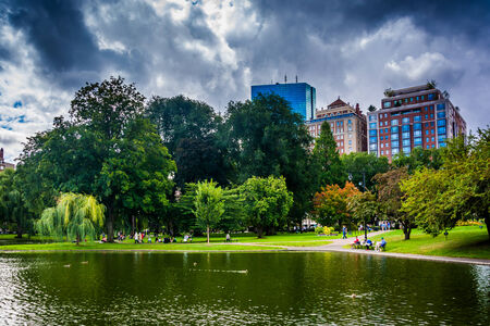 Pond in the Public Garden and buildings in Boston, Massachusetts. photo