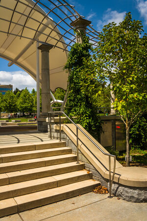 Stairs at Pack Square Park in Asheville, North Carolina.