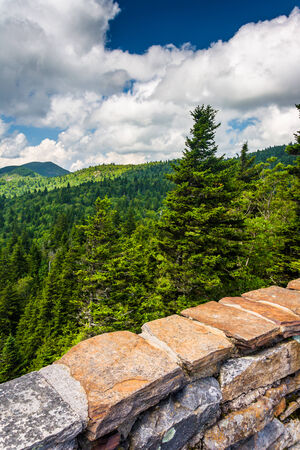 north ridge: Stone wall and view of the Blue Ridge from Devils Courthouse, near the Blue Ridge Parkway in North Carolina.
