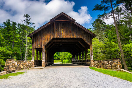 dupont: The covered bridge above High Falls, in Dupont State Forest, North Carolina.