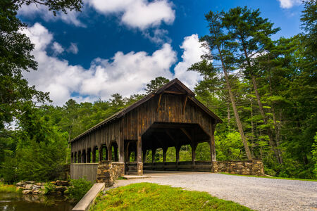The covered bridge above High Falls, in Dupont State Forest, North Carolina.