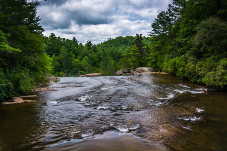 dupont: The Little River above High Falls, in Dupont State Forest, North Carolina.