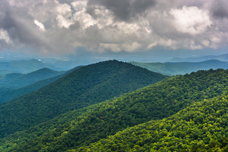 north ridge: View of distant mountains from the Blue Ridge Parkway in North Carolina. Stock Photo