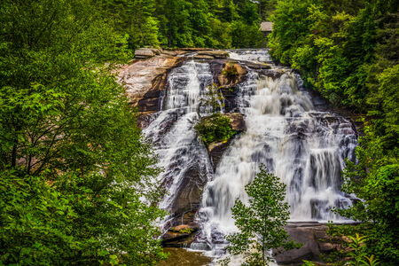dupont: View of High Falls, in Dupont State Forest, North Carolina. Stock Photo