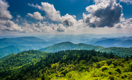 parkway: View of the Blue Ridge Mountains seen from Cowee Mountains Overlook on the Blue Ridge Parkway in North Carolina. Stock Photo