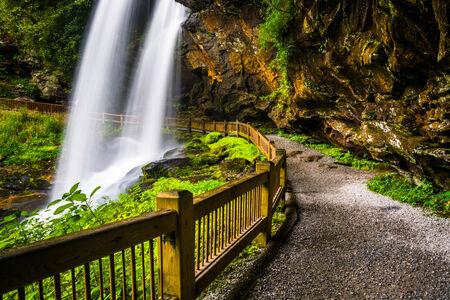 appalachian trail: Trail behind Dry Falls,  in Nantahala National Forest, North Carolina. Stock Photo