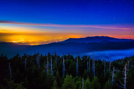 great smoky mountains national park: View from Clingmans Dome Observation Tower at night, in Great Smoky Mountains National Park, Tennessee. Stock Photo