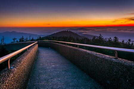 great smokies: Ramp to the  Clingmans Dome Observation Tower at sunset, in Great Smoky Mountains National Park, Tennessee.