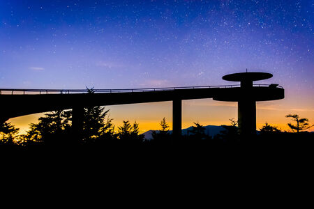 great smoky national park: Stars in the night sky over Clingmans Dome Observation Tower in Great Smoky Mountains National Park, Tennessee. Editorial