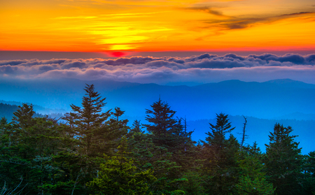 great smoky national park: Sunset over mountains and fog from Clingmans Dome Observation Tower in Great Smoky Mountains National Park, Tennessee. Stock Photo