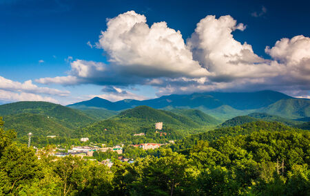 View of Gatlinburg, seen from Foothills Parkway in Great Smoky Mountains National Park, Tennessee.