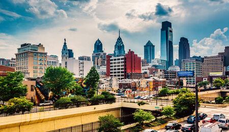 colorful sky: View of the Philadelphia skyline from the Reading Viaduct, Philadelphia, Pennsylvania. Editorial