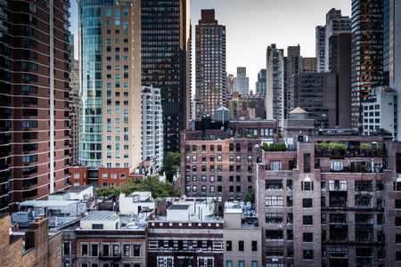 urban scenics: View of buildings in the Turtle Bay neighborhood, from a rooftop on 51st Street in Midtown Manhattan, New York.