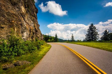 blue ridge: The Blue Ridge Parkway, in North Carolina.