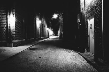 dark alley: Dark alley at night in Hanover, Pennsylvania.