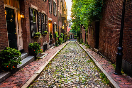 history building: Acorn Street, in Beacon Hill, Boston, Massachusetts. Stock Photo