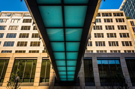 elevated walkway: Elevated walkway over Stuart Street in Boston, Massachusetts. Stock Photo