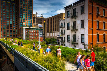 People walking on The High Line, in Manhattan, New York.