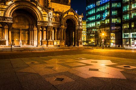 john hancock: Trinity Church and the John Hancock Building at night, at Copley Square in Boston, Massachusetts. Stock Photo