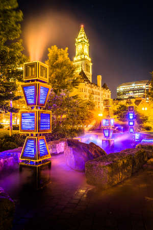 The Harbor Fog art installation and Custom House Tower at night in Boston, Massachusetts. photo