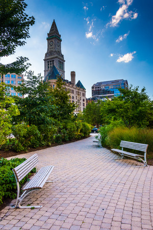 The Rose Fitzgerald Kennedy Greenway and Custom House Tower in Boston, Massachusetts.
