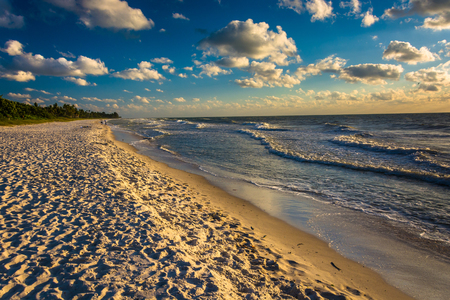 Evening light at the beach in Naples, Florida. Imagens
