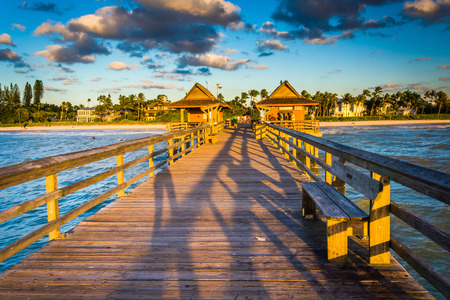 florida landscape: Evening light on the fishing pier in Naples, Florida.