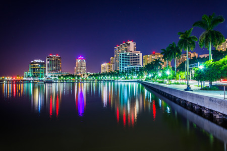 'palm trees': The skyline at night in West Palm Beach, Florida.