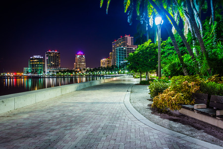 Waterfront Promenade And The Skyline At Night In West Palm Beach Stock Photo Picture Royalty Free Image 33491815