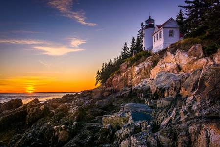 park: Bass Harbor Lighthouse at sunset, in Acadia National Park, Maine.