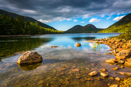 park: Jordan Pond and view of the Bubbles in Acadia National Park, Maine. Stock Photo