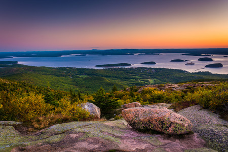 maine: Sunrise view from Caddilac Mountain in Acadia National Park, Maine. Stock Photo