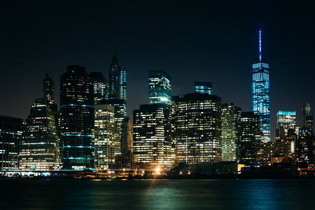 city park skyline: The Manhattan Skyline at night, seen from Brooklyn Bridge Park, Brooklyn, New York.