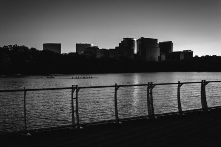 rosslyn: The Rosslyn skyline at sunset, seen from the Georgetown Waterfront in Washington, DC.