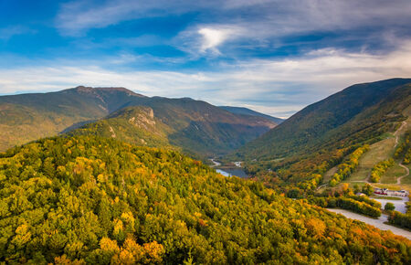 notch: Early fall view from Bald Mountain, at Franconia Notch State Park, New Hampshire.