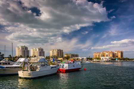 Boats in a marina and hotels along the Intracoastal Waterway in Clearwater Beach, Florida.